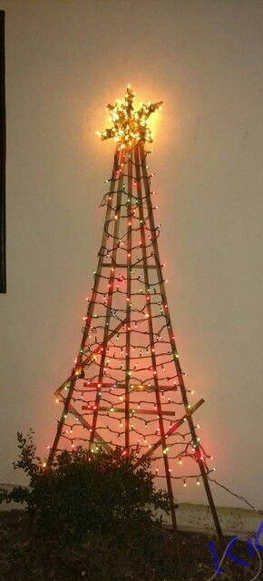 Christmas Tree Made Out Of A Garden Trellis Turnred Upside Down A Homemade Star And Some Lights Yard Christm Christmas Trimmings Photo Tree Christmas Crafts