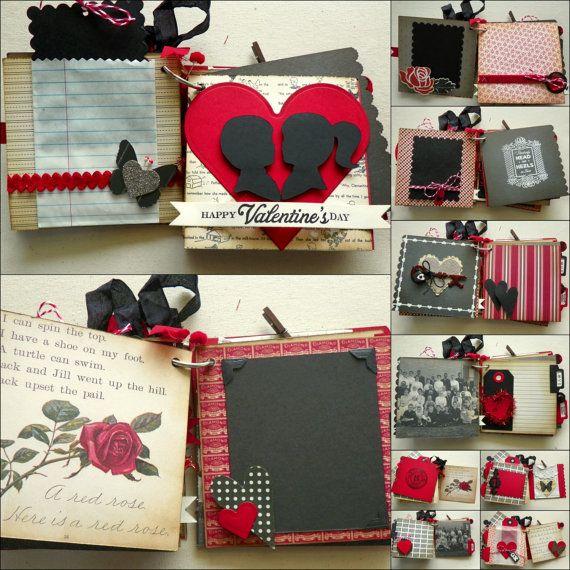 Sweetheart Valentines Day Mini Album Kit-Scrapbook DIY Hearts Red ...