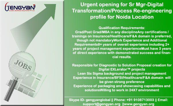 Urgent Opening at #GenGyan_JOBS #Digital #Transformation #Process ...