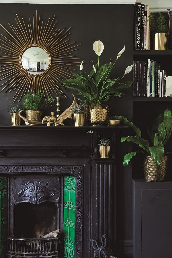 Book Review At Home With Plants Dark Interiors Black Fireplace Dark Living Rooms