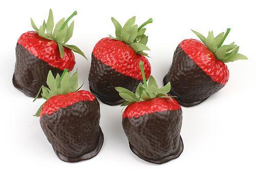 Fake Food Chocolate Dipped Strawberries - 5pc medium size