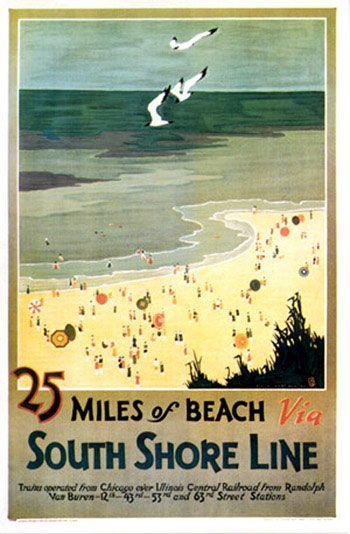 CALIFORNIA MILES OF BEACH UMBRELLAS OCEAN TRAVEL TOURISM VINTAGE POSTER REPRO