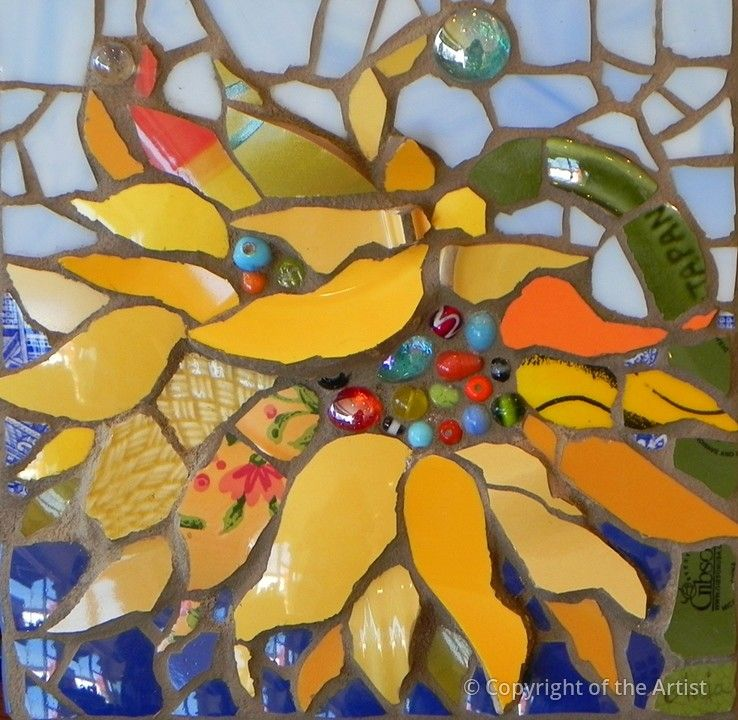 Nodding Sunflower by Anja Hertle  ~  Maplestone Gallery  ~  Contemporary Mosaic…