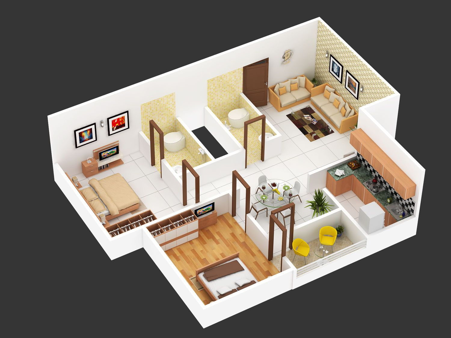 2bhk floor plan isometric view design for hastinapur smart