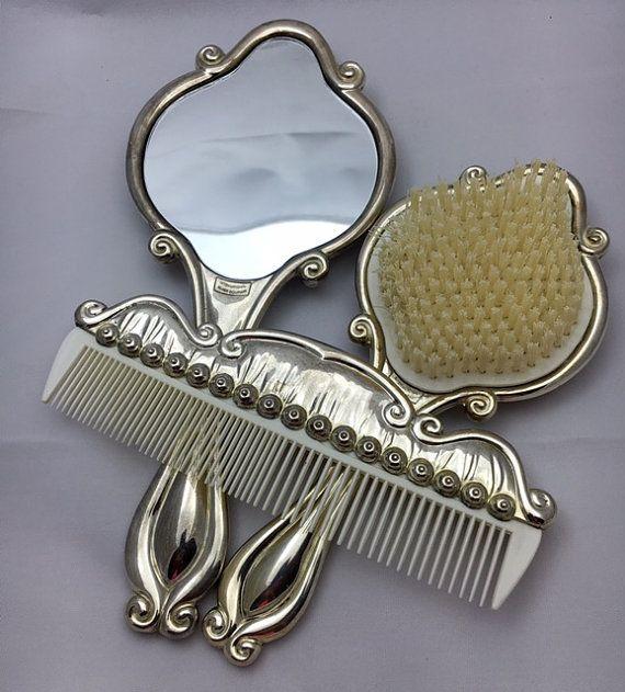 Vintage Silver Plated Vanity Set Mirror Hair Brush by Pastfinds & Vintage Silver Plated Vanity Set Mirror Hair Brush and Comb-Gift ...