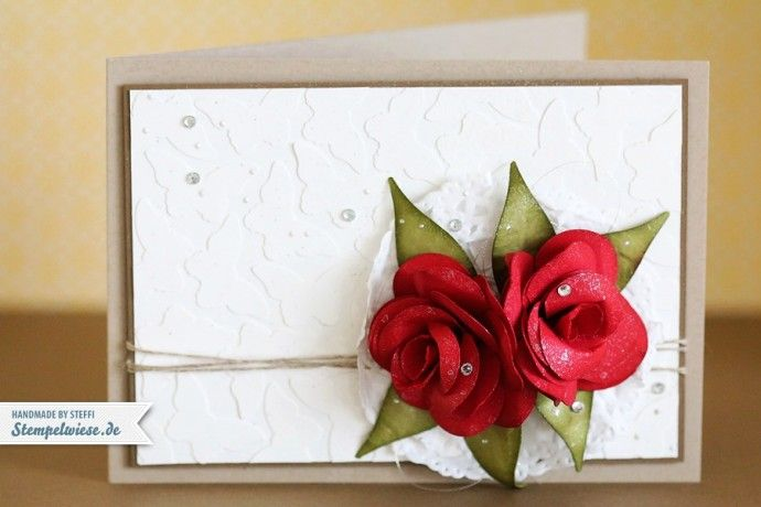 Glückwunschkarte mit 3D Rosen