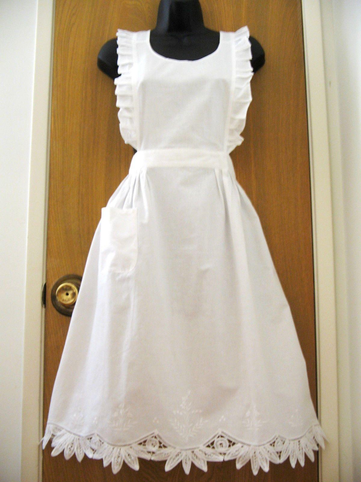 White pinafore apron costume - New Victorian White Battenburg Lace Bib Apron Pinafore Cinderella Play Costume