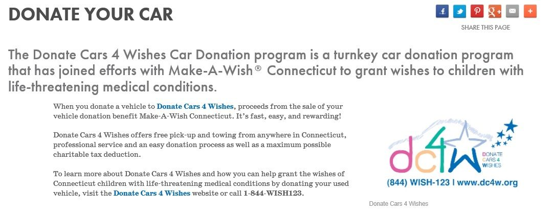 Makeawish ct partnered with donate cars 4 wishes