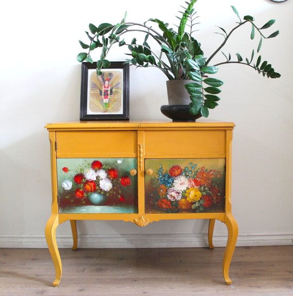 Smoky Pearl Furniture Painting Technique Captiva: Yellow Sideboard/bar Cabinet By