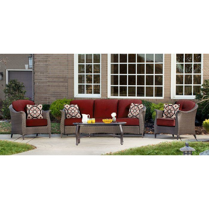 Gramercy 4 Piece Deep Seating Group With Cushions Patio Seating Sets Patio Seating Conversation Set Patio