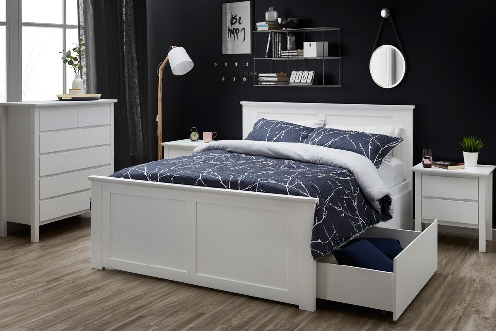 Best Coco White Hardwood Queen Size Bed Frame With 2 X Storage 640 x 480