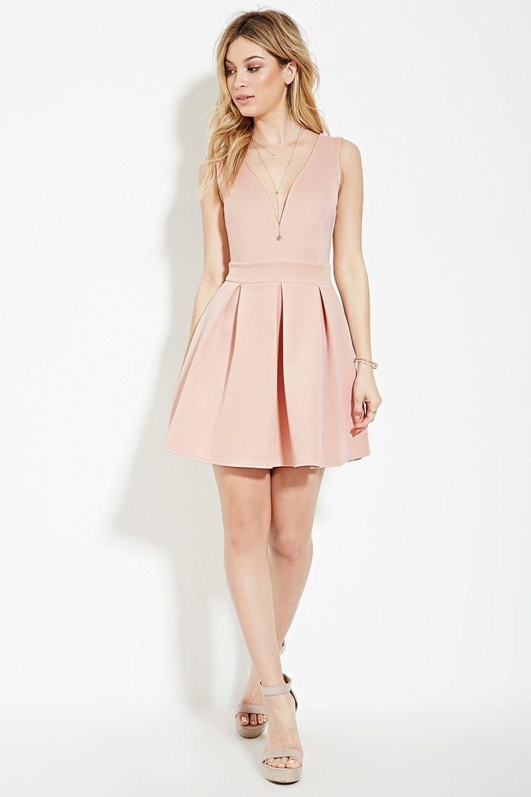 Pink dress forever 21  Scuba Knit Fit u Flare Dress  Forever     forever