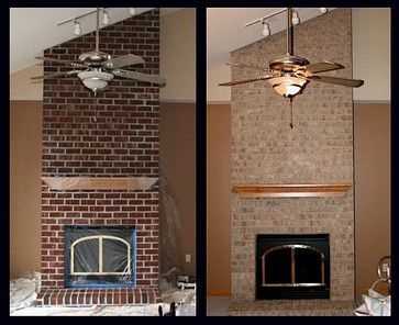 Wisconsin Brick Stain Project Modern Spaces South West Brick Transformers Stone Fireplace Remodel Fireplace Remodel Stained Brick