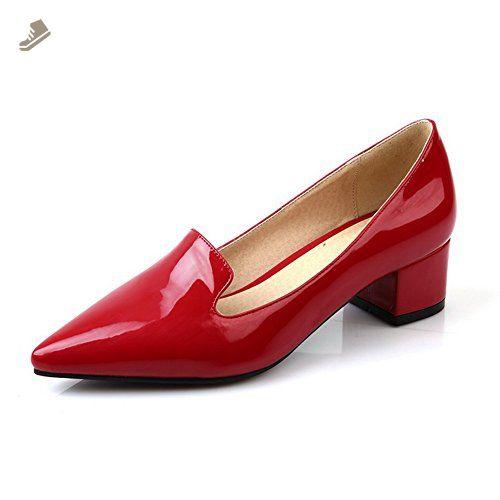 Balamasa Girls Pointed Toe Slip On Kitten Heels Red Patent Leather Pumps Shoes 10 5 B M Us Balamas Pump Shoes Red Patent Leather Pumps Pointed Flats Shoes