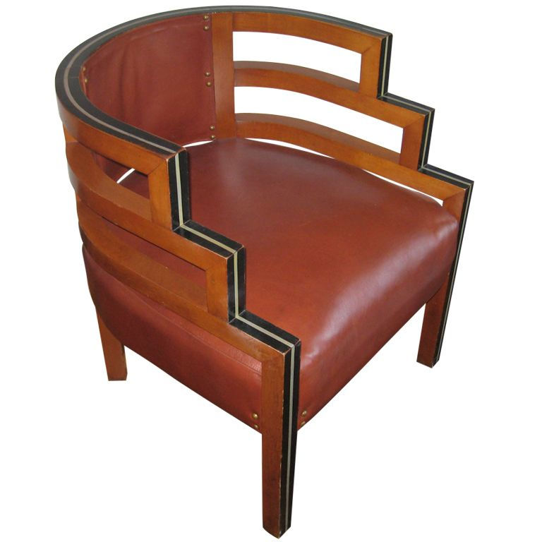 1930 S Wood And Leather Upholstered Chair 1stdibs Com Art Deco Chair Art Deco Furniture Deco Chairs