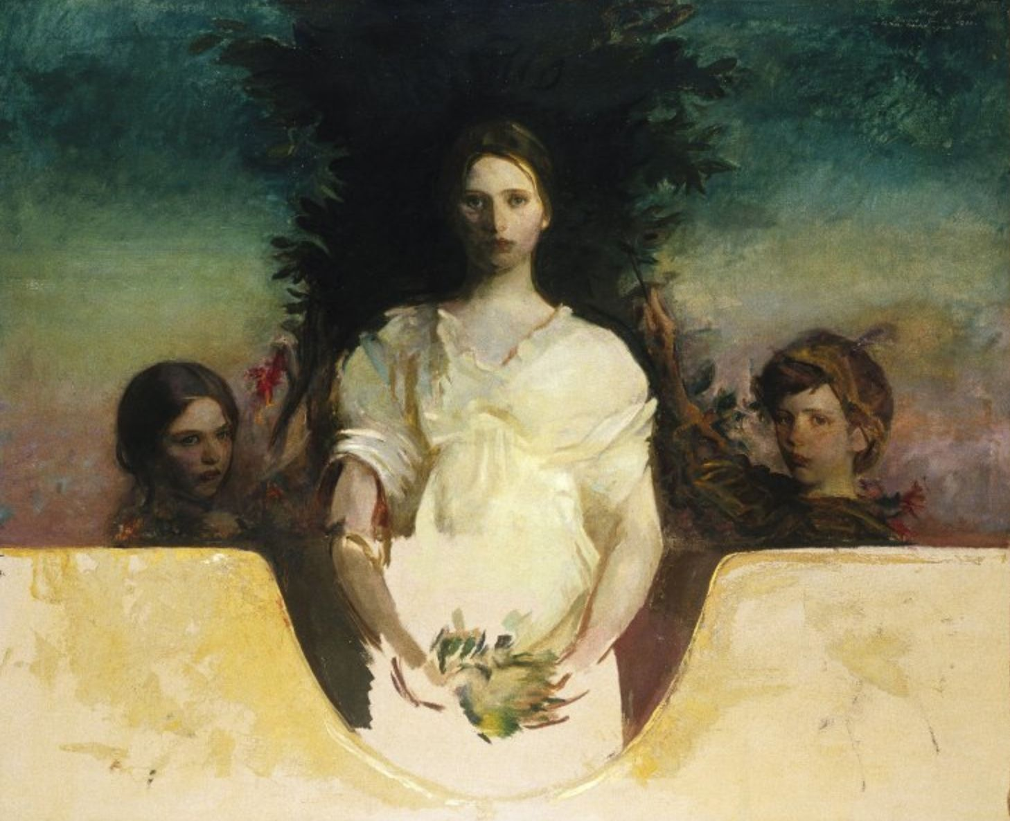 """""""My Children"""" by Abbott Handerson Thayer. c1896-1919, oil on canvas. The artist's children, Gladys, Mary and Gerald. In the collection of The Brooklyn Museum of Art, NY."""