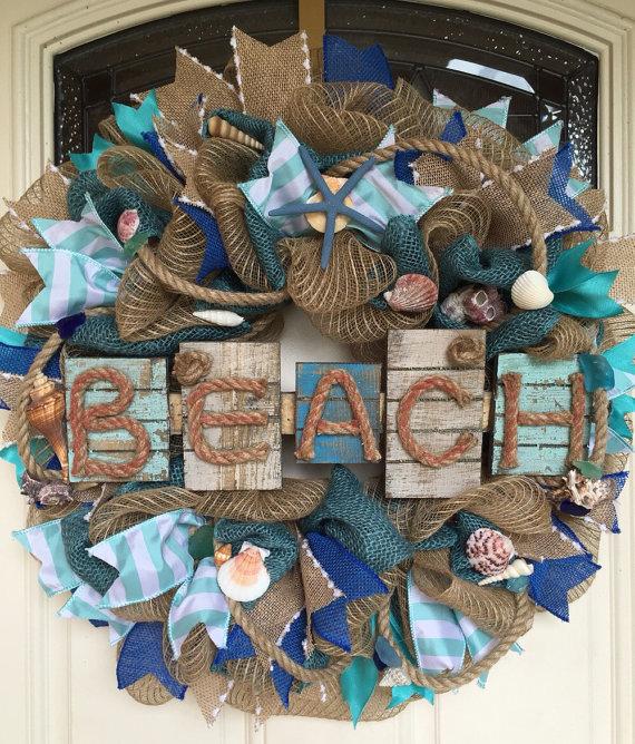 Photo of Nautical Wreath,Beach Decor,Beach Wreath, Nautical Decor,Coastal Wreath,Shell Wreath, Beach Wedding,Coastal Wedding,