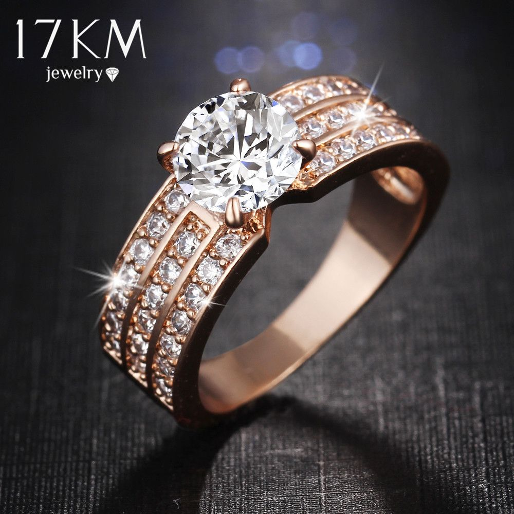 17KM New Simple Style Finger Rings rose Gold Color Zircon Fashion