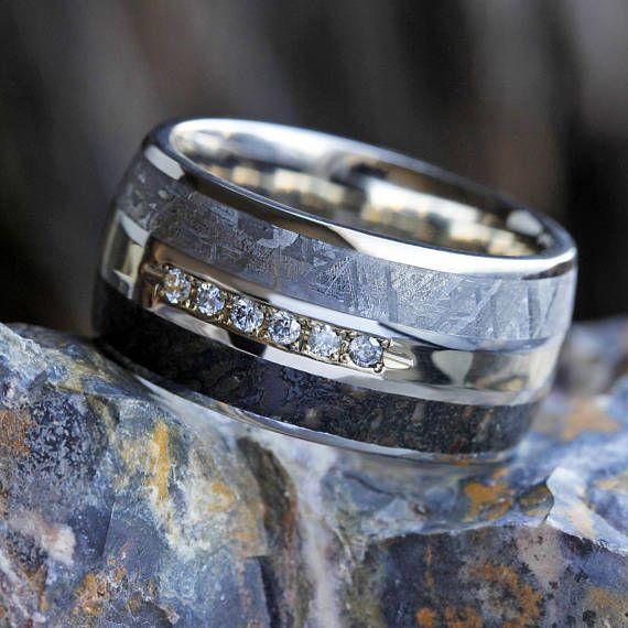 Men S Diamond Wedding Ring Meteorite Ring With Dinosaur Mens Rings Wedding Diamond Mens Gemstone Rings Meteorite Ring