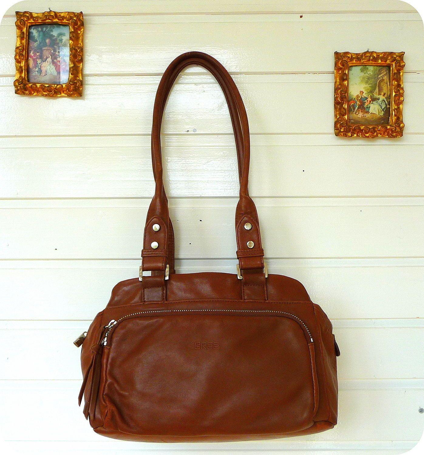 BREE Leder Tasche Schultertasche Handtasche LEATHER BAG Umhängetasche Braun   eBay