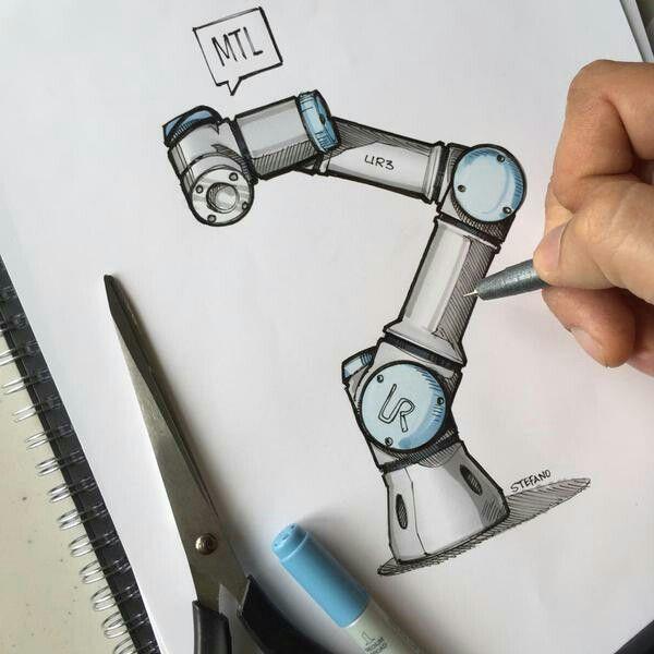 Universal robots UR3 sketch | Robots | Robot sketch, Robot design