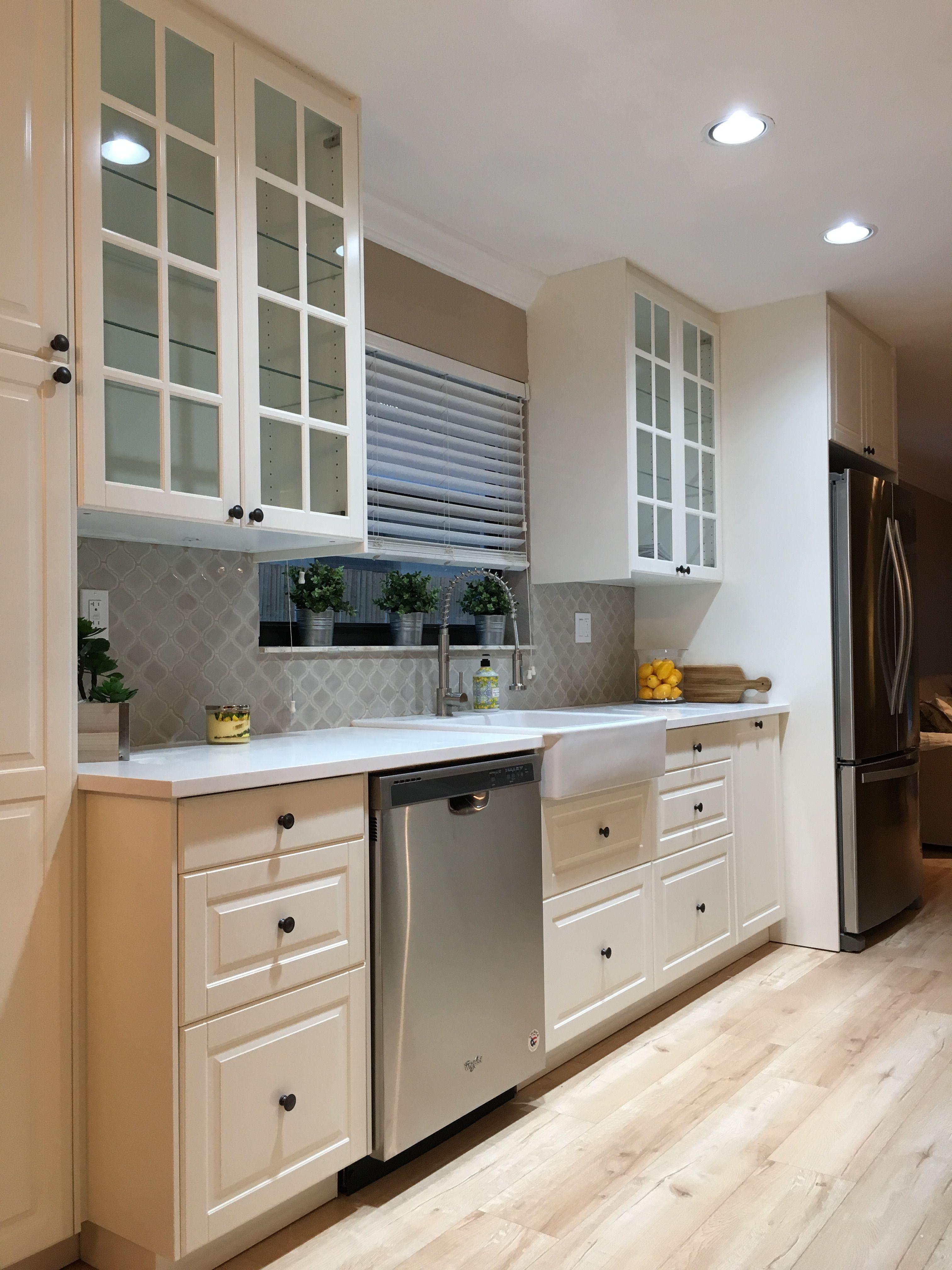 - Ikea White Kitchen With Farm Sink And Grey Arabesque Tile