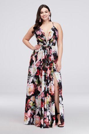 A Line Floral Chiffon Plus Size Gown With Slit Style 59342dw Black