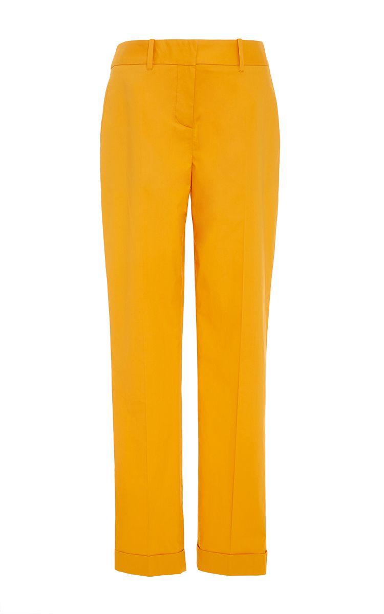 Cotton poplin skinny trousers with pockets - Paule Ka