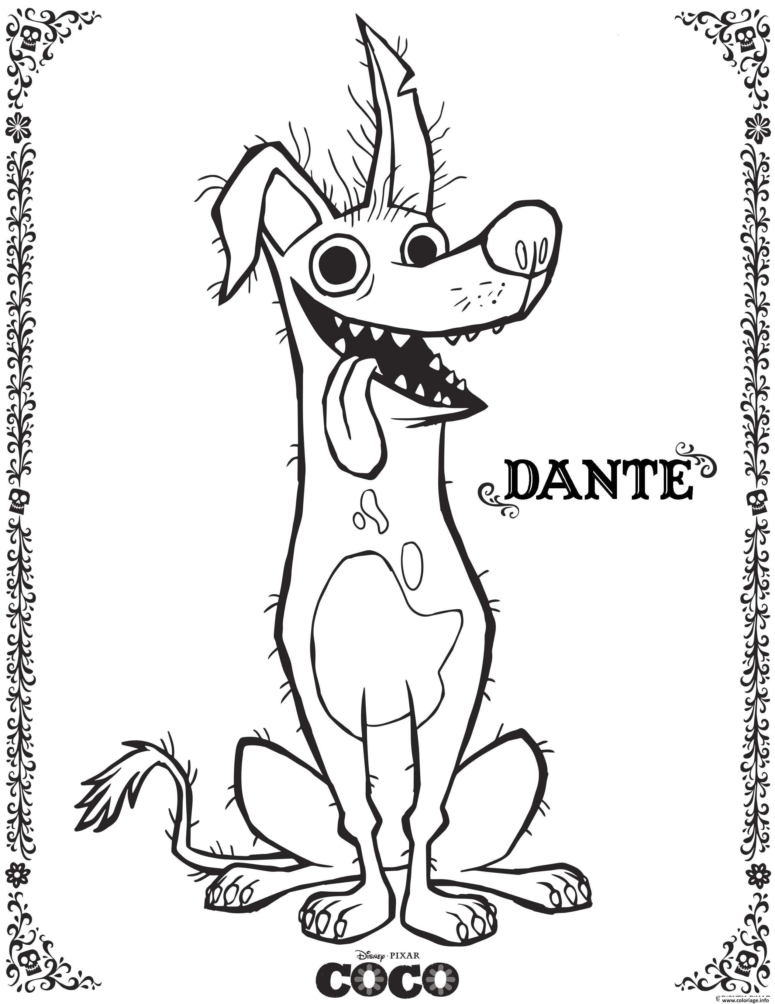 Coloriage Dante Coco Disney  imprimer pour colorier avec les enfants et adultes Le dessin Dante Coco Disney est gratuit