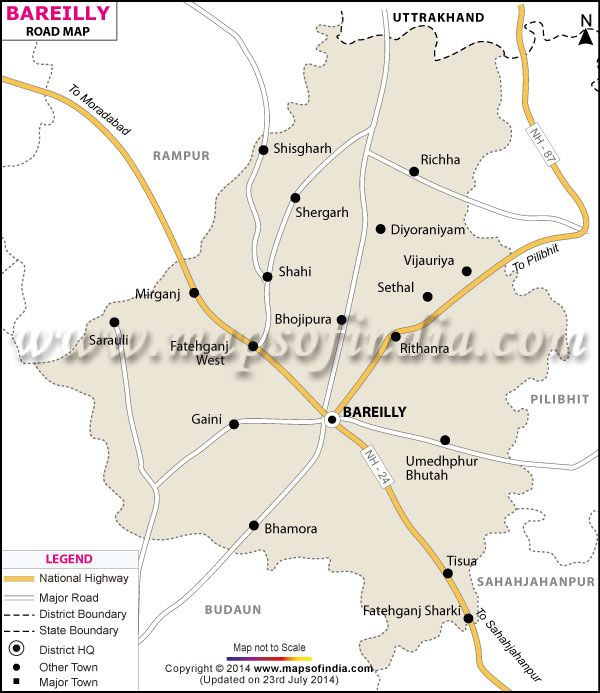 Map Showing The Entire Road Network Of Bareilly District Uttar - Bulandshahr map