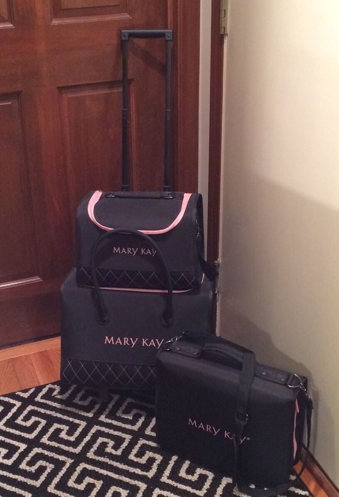 fd7cc57bbf2c 3 pc MARY KAY COSMETICS CONSULTANT ROLLING TOTE CASE SET BINDER LUGGAGE  #MaryKay