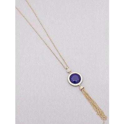 Reversible Tassel Necklace in Navy & Mint