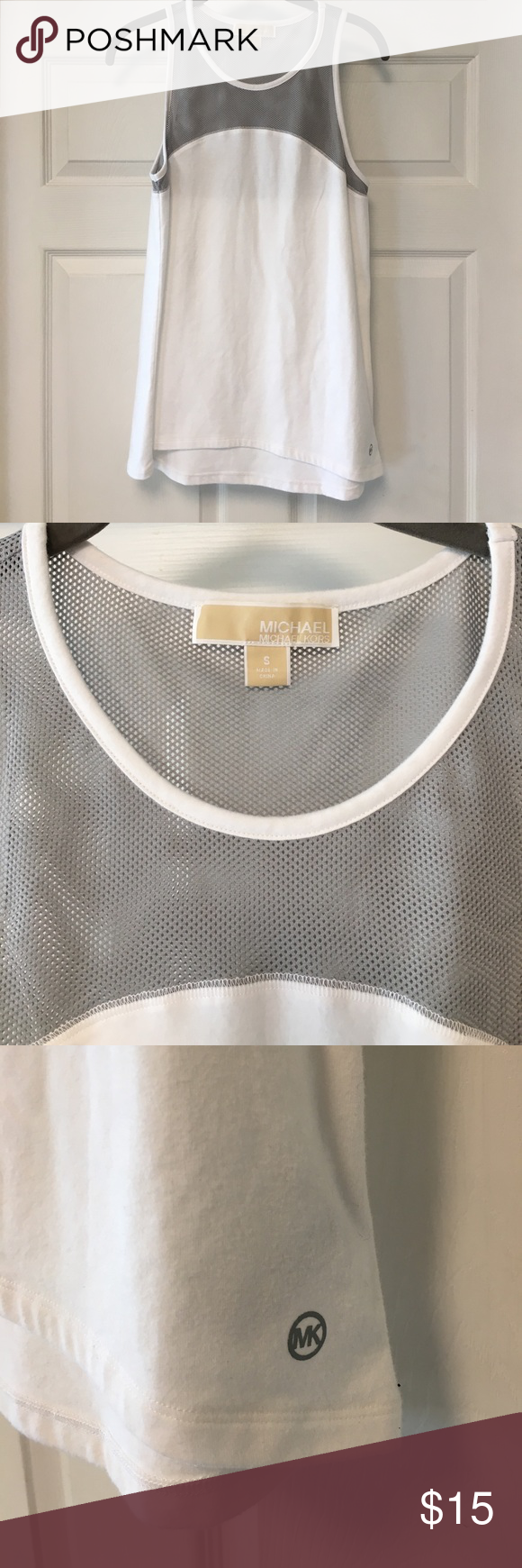 ❌$5 BUNDLED! Michael Kors Workout Tank Soft white workout tank with gray mesh. Great condition. Bundle with anything else for deal! Use offer button!*c MICHAEL Michael Kors Tops Tank Tops