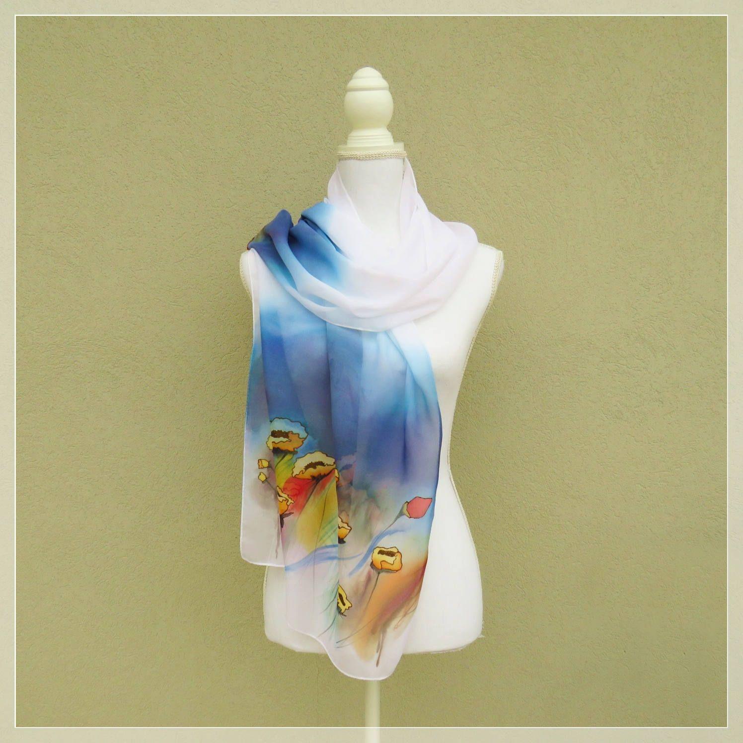 a basso prezzo più alla moda pacchetto alla moda e attraente Scarf with yellow poppies in hand painted silk, scarf yellow ...