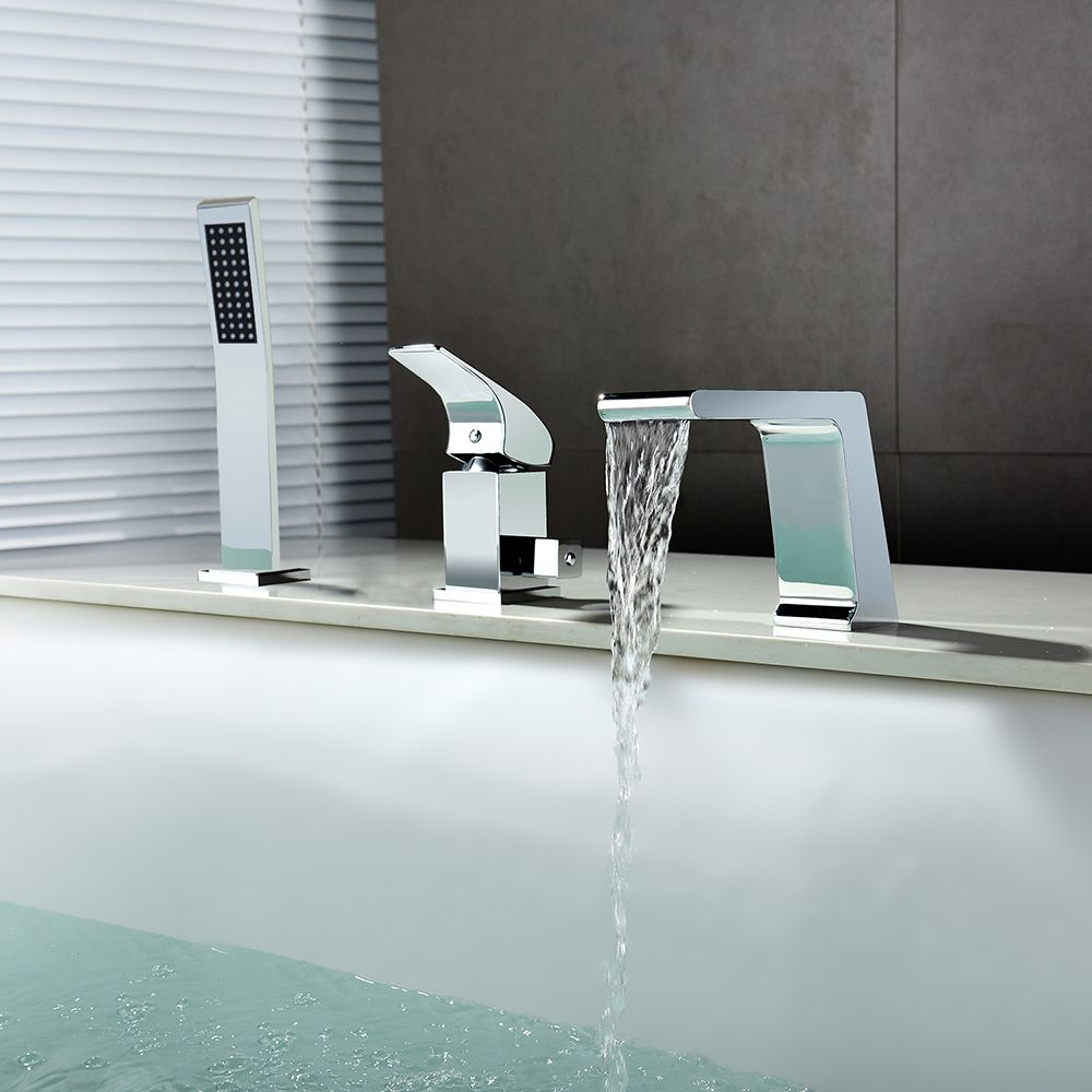 3 Hole Roman Tub Filler Faucet Hand Shower Features A Waterfall