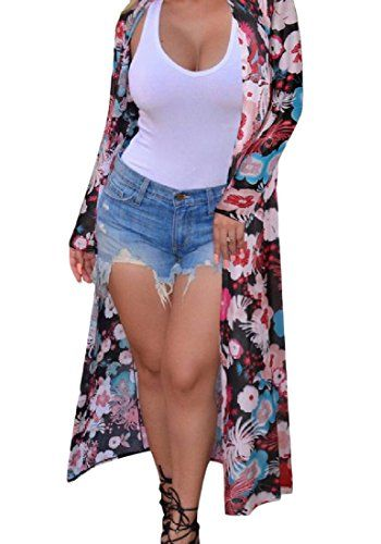 bf30e48010 Sheng Xi Women s Long Sleeve Print Thin Long Sexy Trench Coat Jacket As  picture S