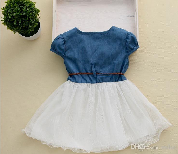 87461e4d94d 2016 Girls Denim Tutu Dresses Summer Children Short Sleeve Flower Lace Blet  Cowboy Net Yarn Casual Dress Via DHL Fedex UPS Free Ship