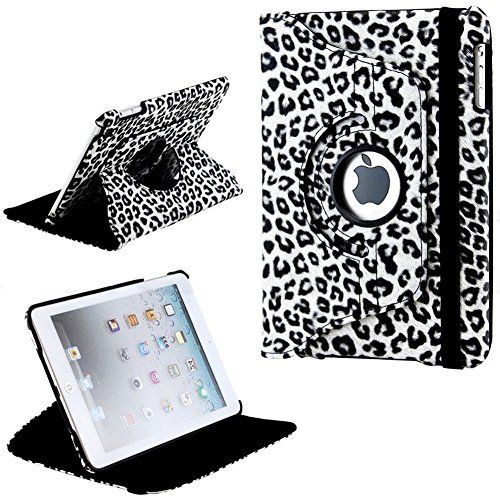 """myLife Seal Black and Fancy White {Natural Spotted Leopard} 360 Degree Rotating Case for Apple iPad Mini 1, 2 and 3 (High Quality Koskin Faux Leather Cover + Slim Lightweight Design) """"All Ports Accessible"""" myLife Brand Products http://www.amazon.com/dp/B00T8O6O0O/ref=cm_sw_r_pi_dp_8l0avb07JT5EY"""