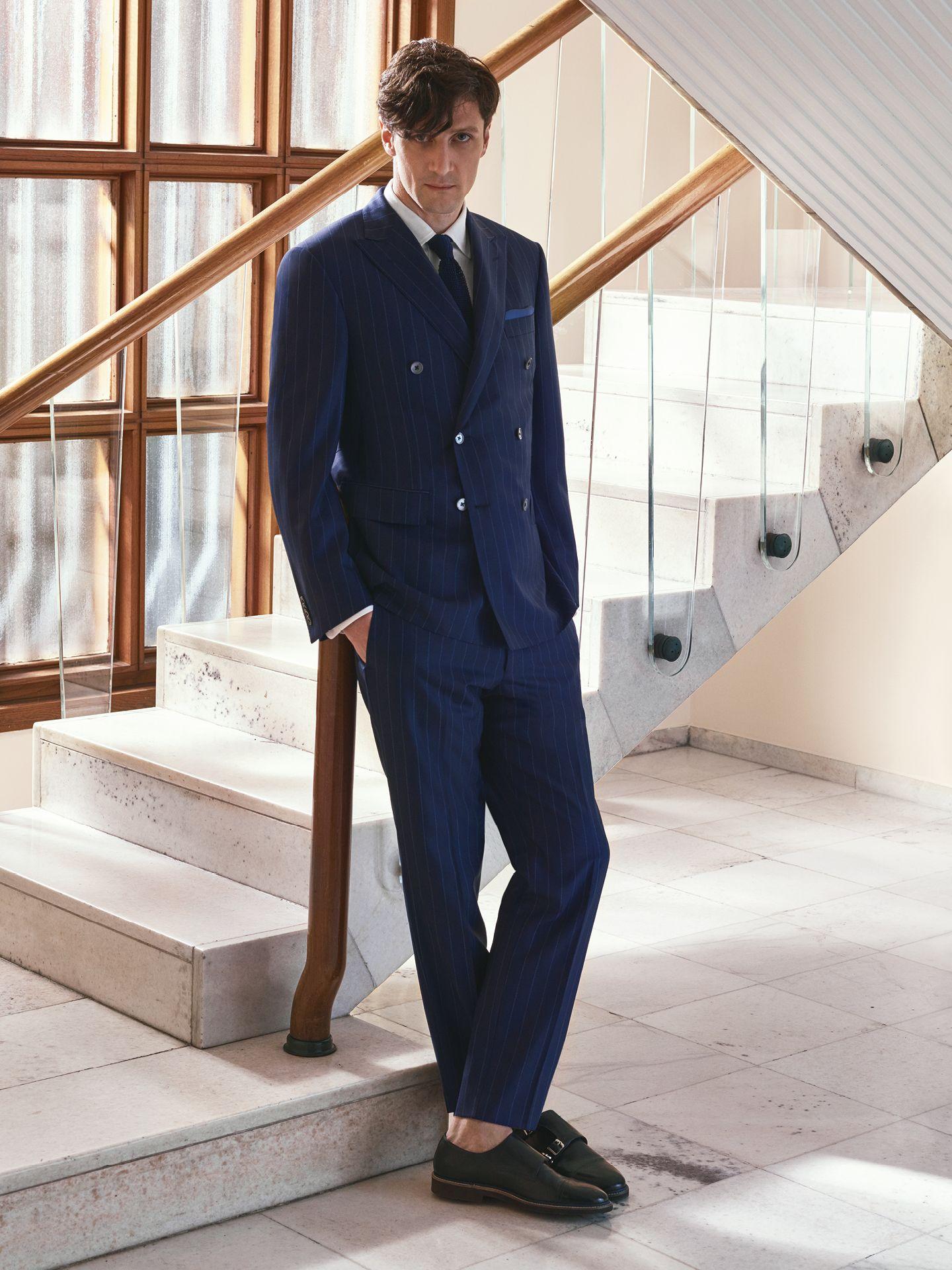 b55028bd79 Suit in Flawless wool, pinstripe, navy blue. 6-button double ...