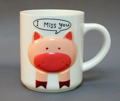 "Plastic ""I Miss You"" Piggy Mug with Lid"