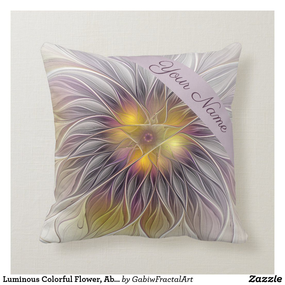 Luminous Colorful Flower Abstract Fractal Name Throw Pillow Zazzle Com In 2020 Flower Graphic Colorful Flowers Abstract