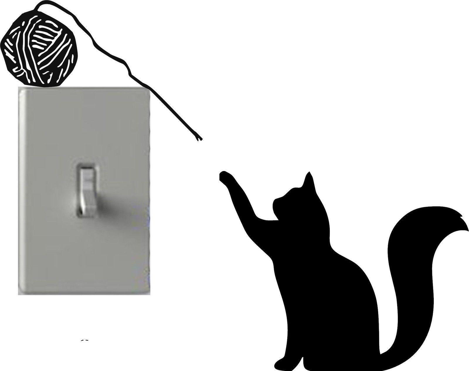 Cat Playing Yarn Light Switch Decals Custom Vinyl Wall Art - Custom vinyl wall decals cats