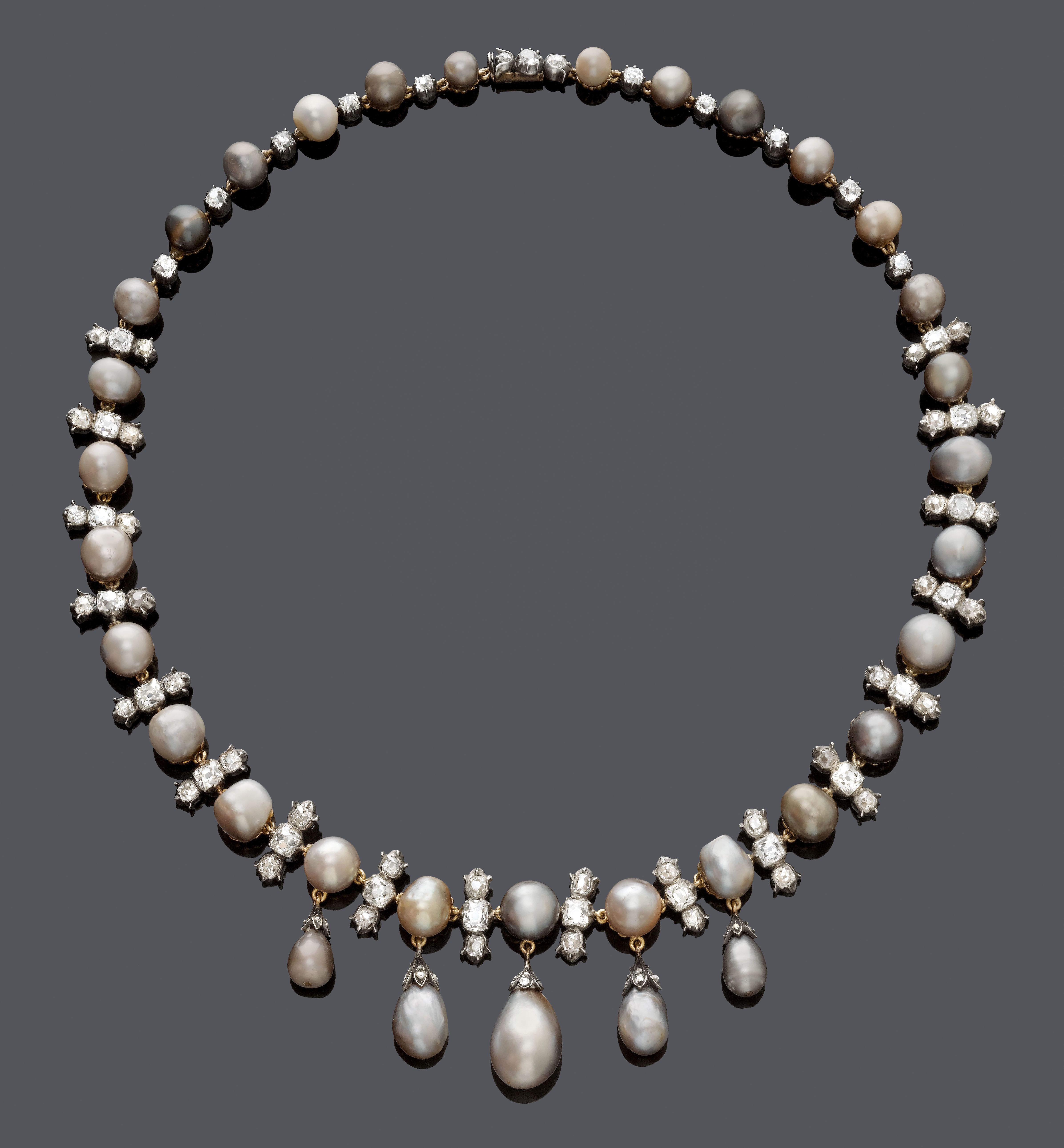 Silver pearl marisol white lace 1 - Natural Pearl And Diamond Necklace About 1900