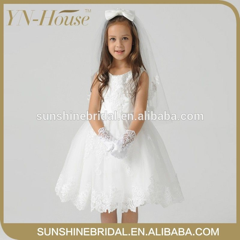 YNF0165 High-Grade Little Queen Scoop Handmade Flowers Tea-Length Tulle Sample Flower Girl Dress For Kids #dress, #For Kids