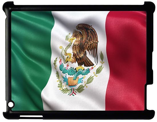 Waving Mexican Flag iPad 1 2 3 4 Hard Case Cover Black - USA SELLER  #UnbrandedGeneric