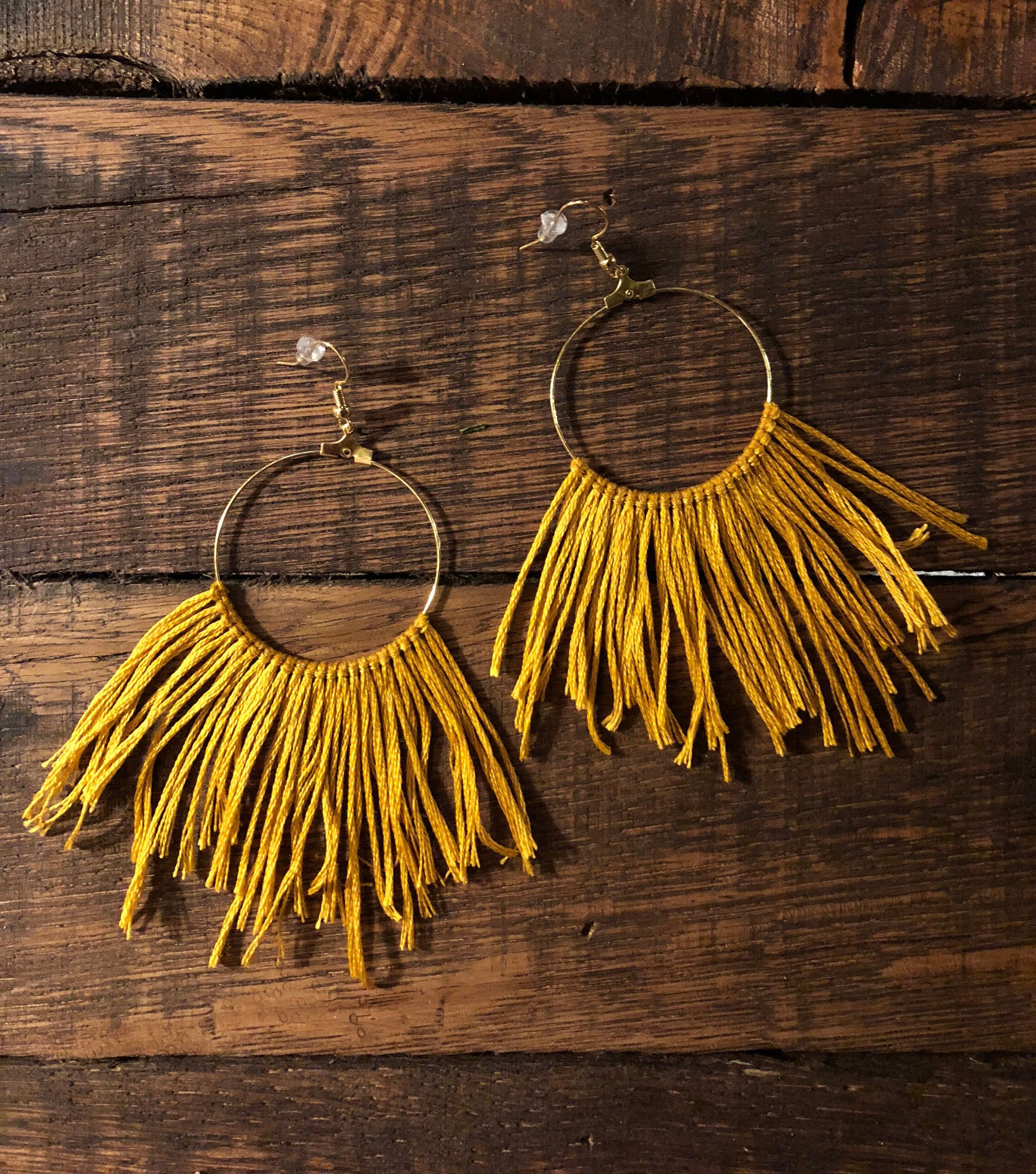 "Photo of Items similar to Boho Mustard ""Free Fringe"" Hoop Earrings on Etsy"