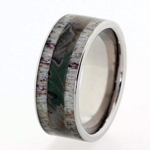 mens camouflage ring with deer antler inlays on by jewelrybyjohan 76600 well babe - Mens Camo Wedding Rings