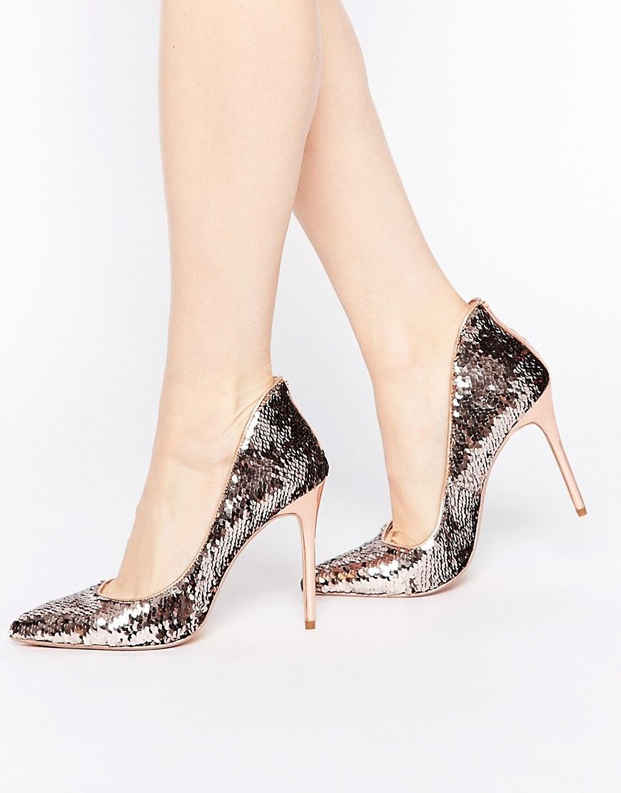 Ted Baker Womens Savenniers Metallic Leather & Sequin Pumps Mirror Metallic - Pumps