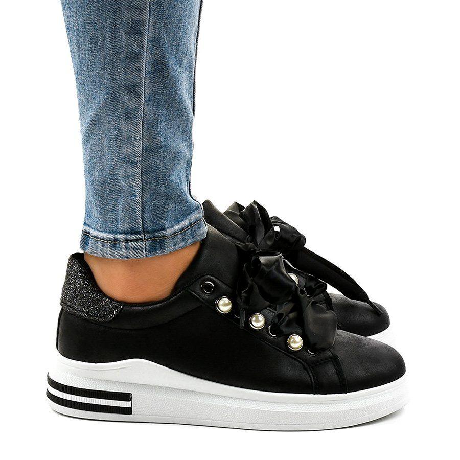 Czarne Sneakersy Na Koturnie X63 Bow Sneakers Shoes Wedge Sneaker