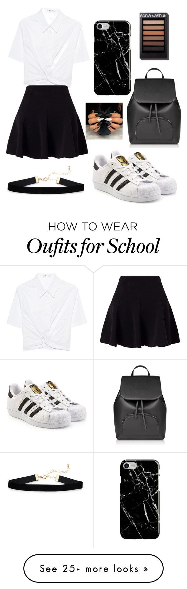 """Black And White School Outfit"" by fashiongirllover18 on Polyvore featuring T By Alexander Wang, Miss Selfridge, adidas Originals and Recover"